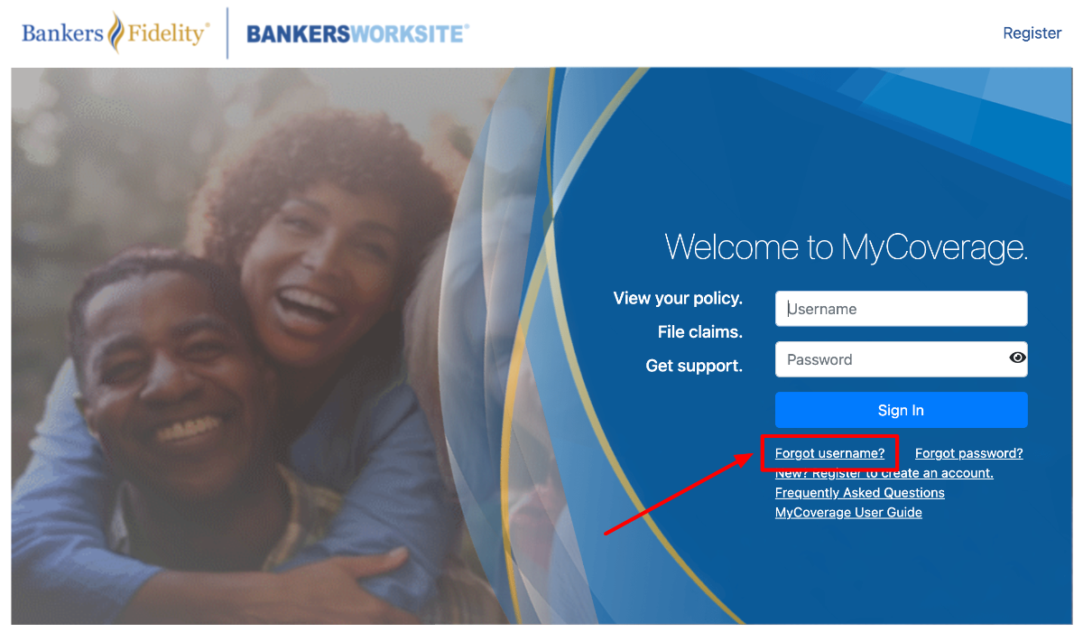 Bankers Fidelity Policyholders forgot username