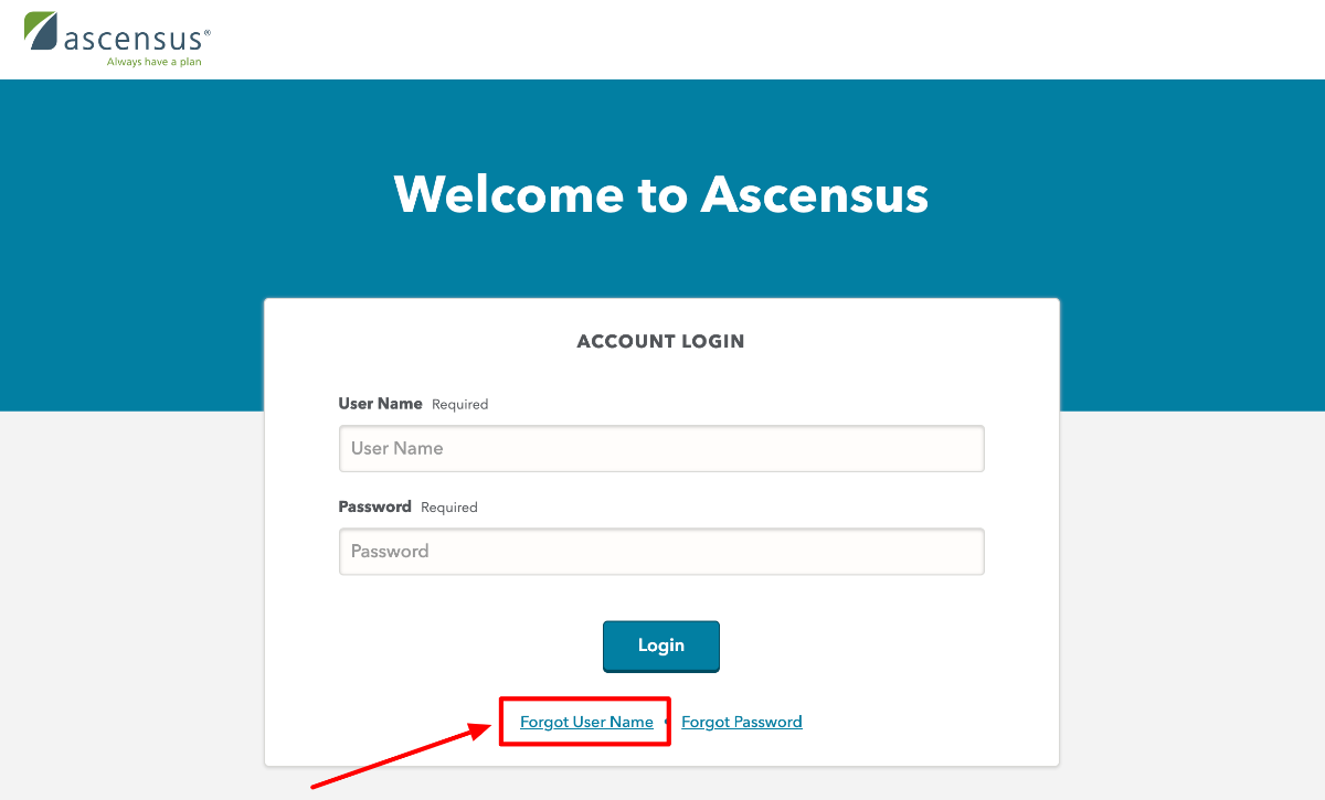 Reset Ascensus Employer Log In
