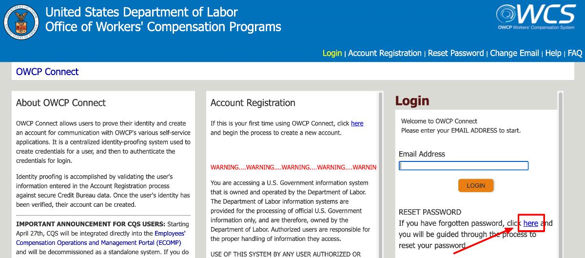 Retrieve US Department of Labor Provider Login