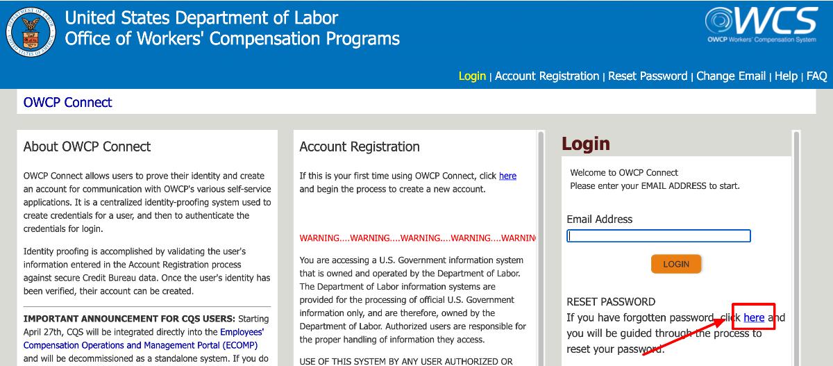 Retrieve US Department of Labor Representative Login
