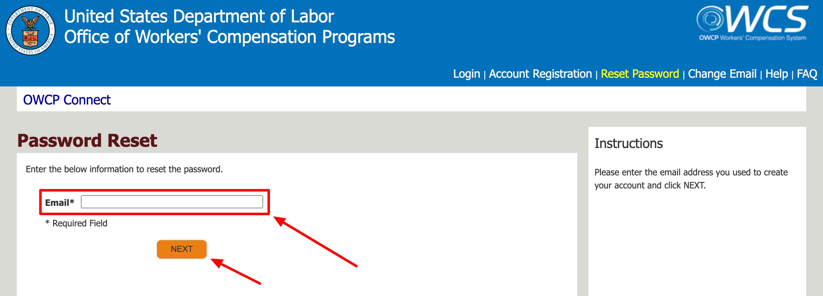 Recover US Department of Labor Auditor Login