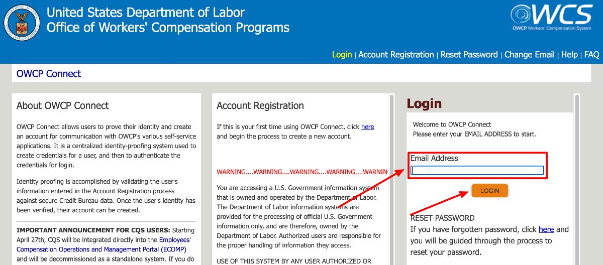 US Department of Labor Auditor portal Login