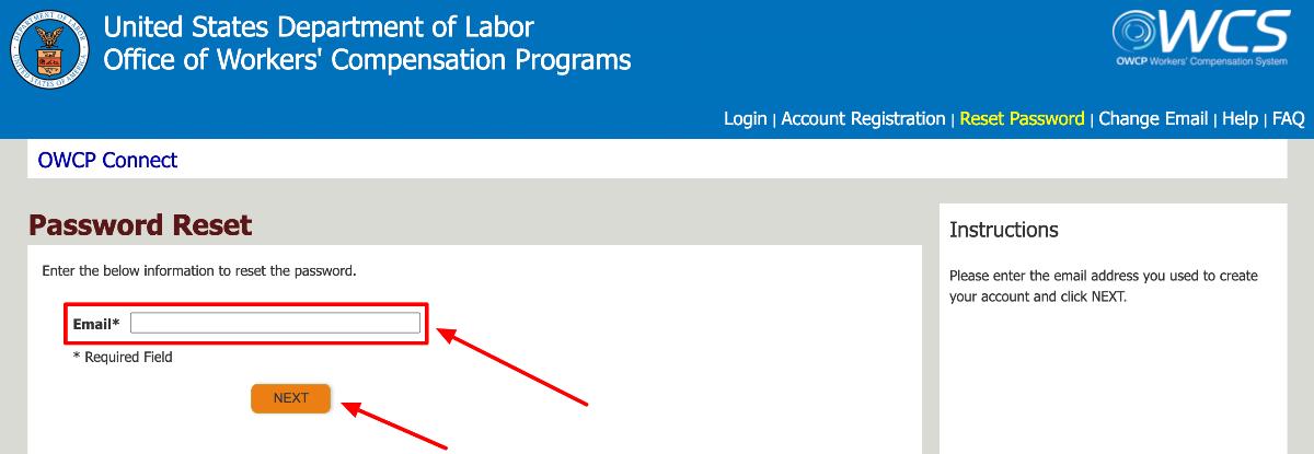 US Department of Labor Provider password reset
