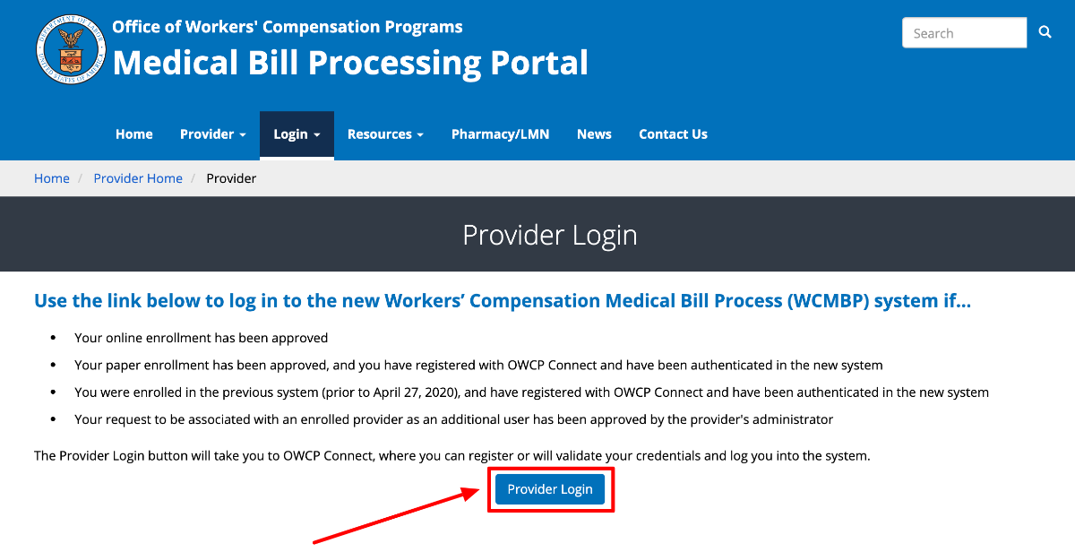 US Department of Labor Provider portal Login
