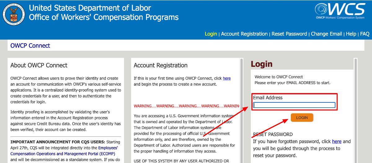 US Department of Labor Representative portal Login
